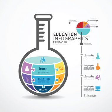 Infographic Template with test tube jigsaw banner