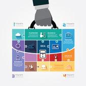 Šablona Infographic podnikatel rukou drží obchodní taška souřadnicové