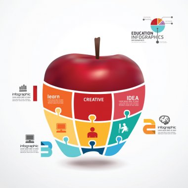 Infographic Template with apple jigsaw banner