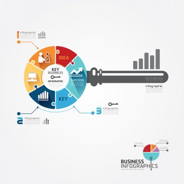 Infographic Template with key business jigsaw banner