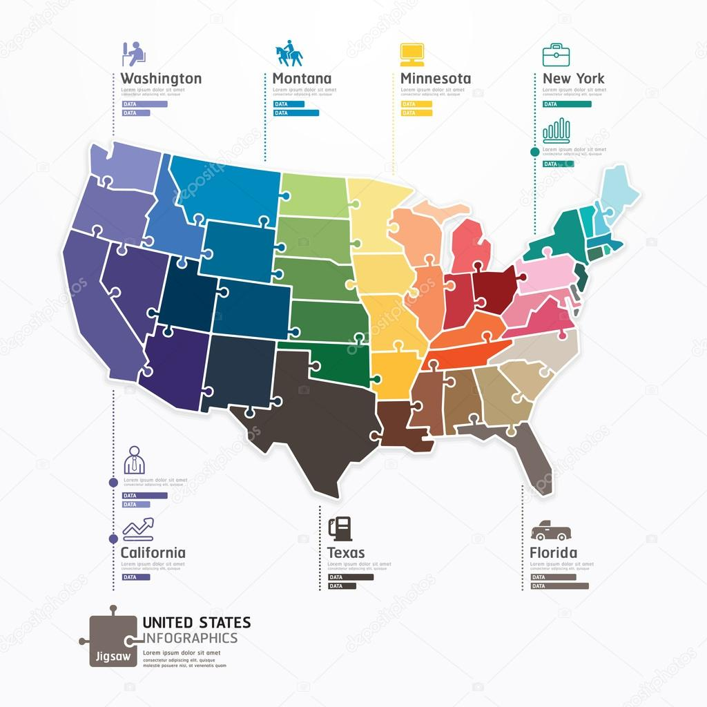 USA Karte Infographik — Stockvektor © pongsuwan #42459037