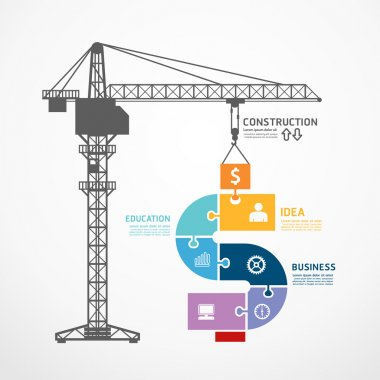 Construction tower crane jigsaw banner