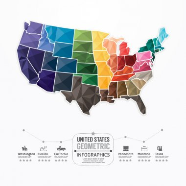 United states Map Infographic Template
