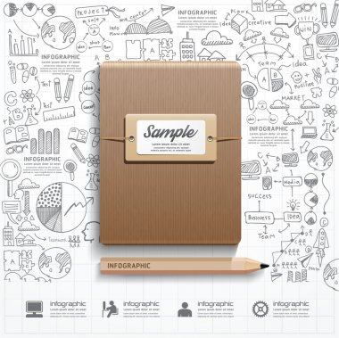 Infographic Book with  doodles line