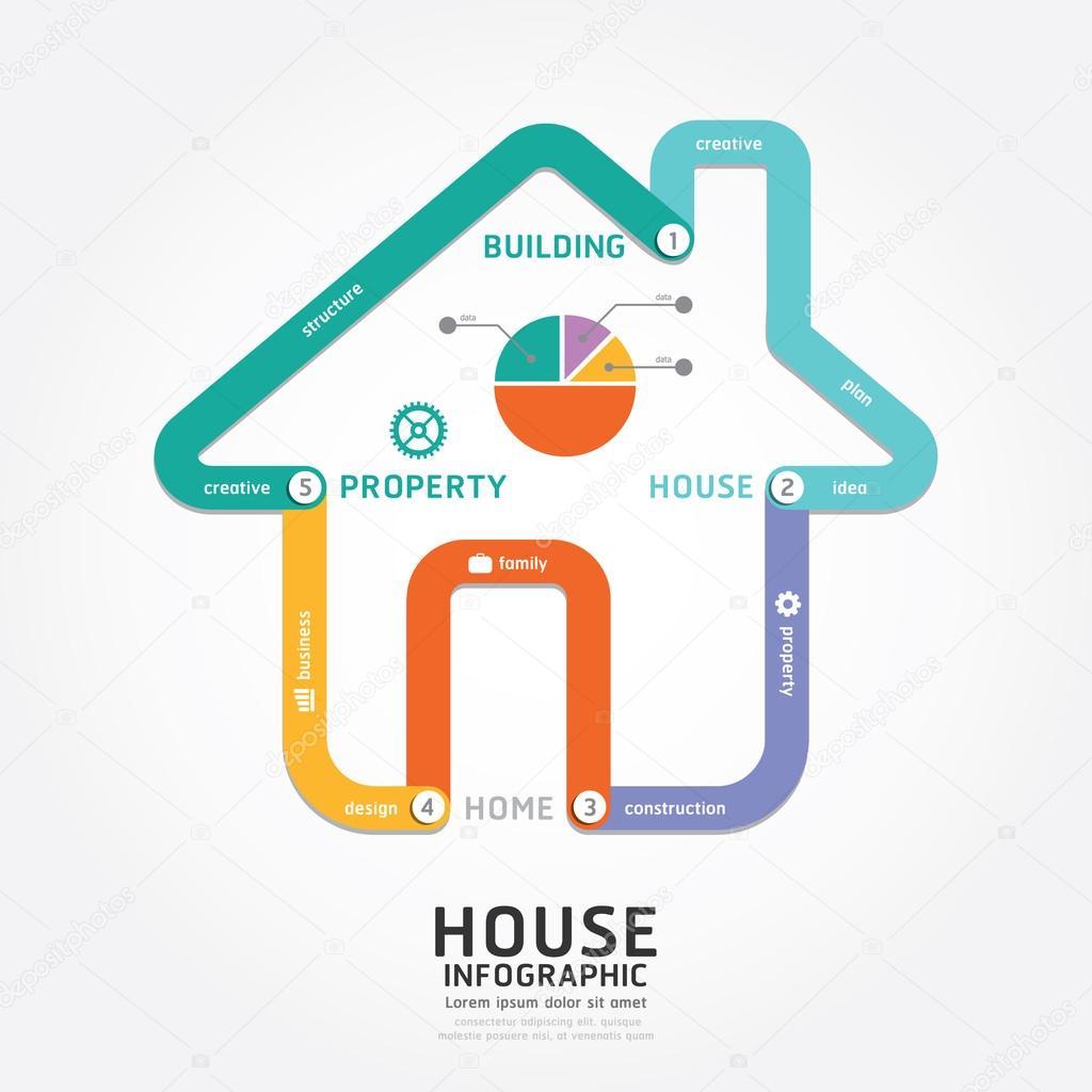건물 집 디자인 인포 그래픽 — 스톡 벡터 © pongsuwan #47936121
