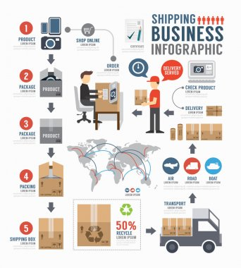 Infographic Shipping world Business  template design