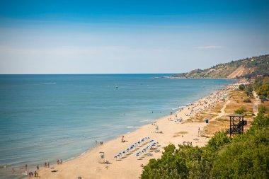 Panoramic view on west part of Golden Sands beach (Zlatni Piasci) in Bulgaria. stock vector