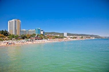 Panoramic view on Varna beach on Black se in Bulgaria. stock vector