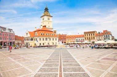 The Council Square in downtown in Brasov, Romania. stock vector