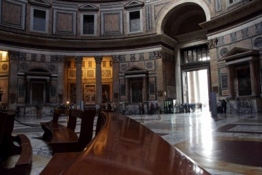 Interior view of the dome of the Pantheon in Rome, Italy