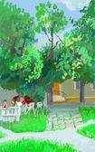 Sketch of city park