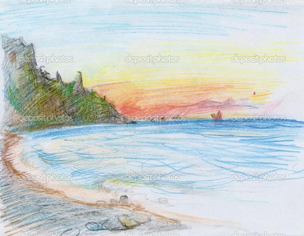 Как нарисовать своими руками картинку черного моря