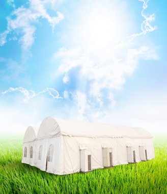 White tent with air conditioning