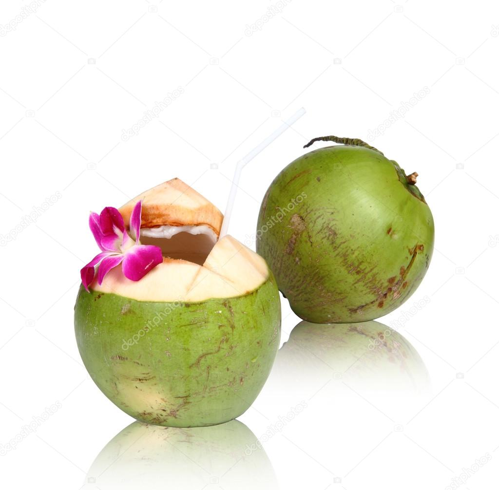 Green coconuts, clipping path.