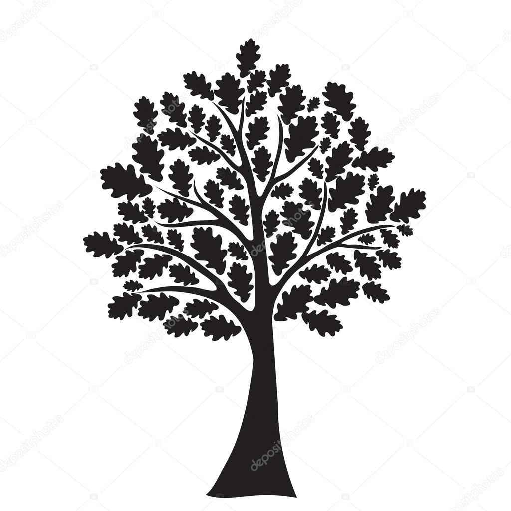 Black oak tree, stylized, vector for design stock vector