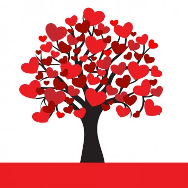 Abstract hearts tree, vector illustration for Valentine Day clip art vector
