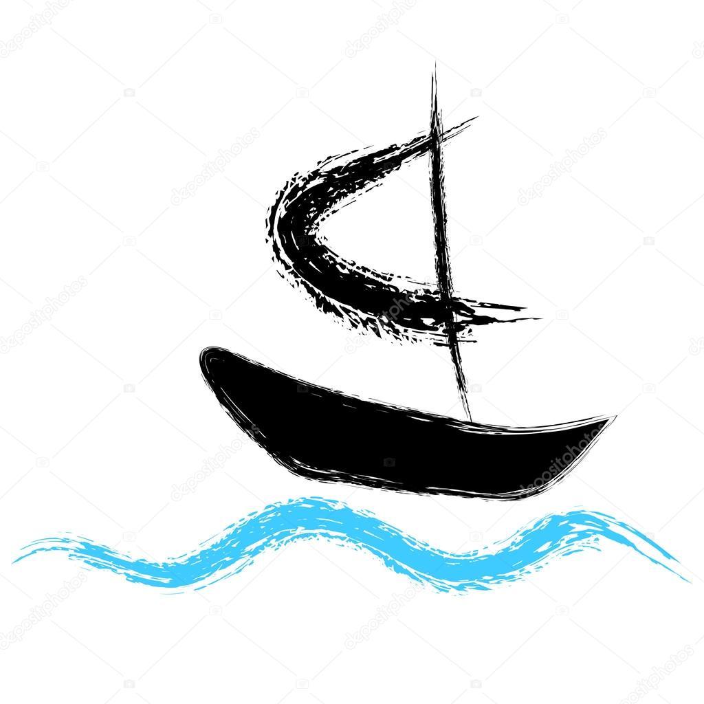 Piratas del barco navegando sobre las olas — Archivo Imágenes ...