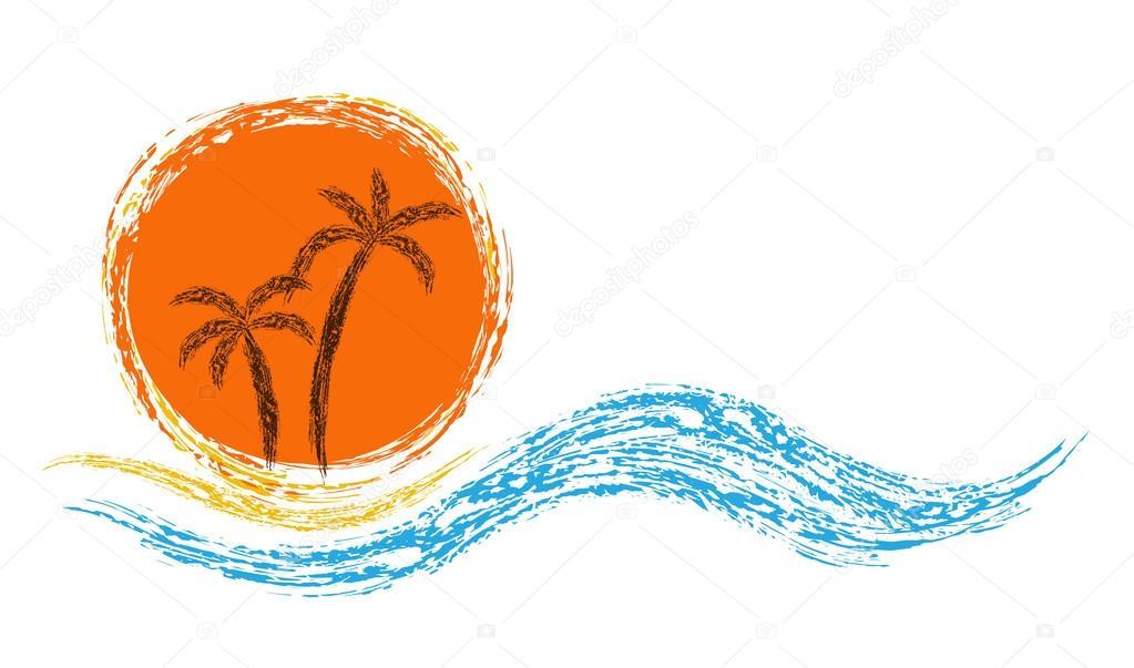 Palms and sun.