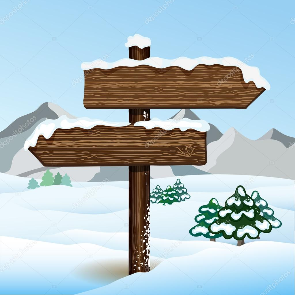 Vector bilboard in winter forest