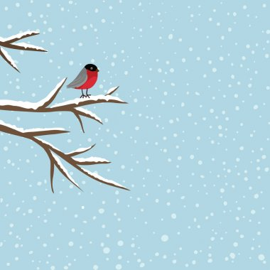 Bird sitting on branch in winter, vector