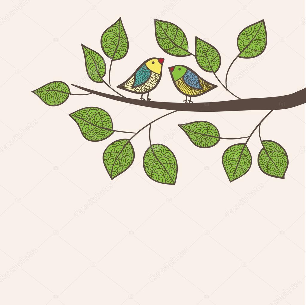 Birds sit on tree