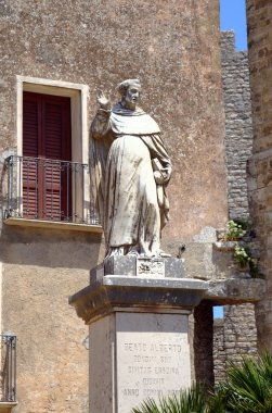 Statue near Saint Giuliano church in Erice. Sicily, Italy
