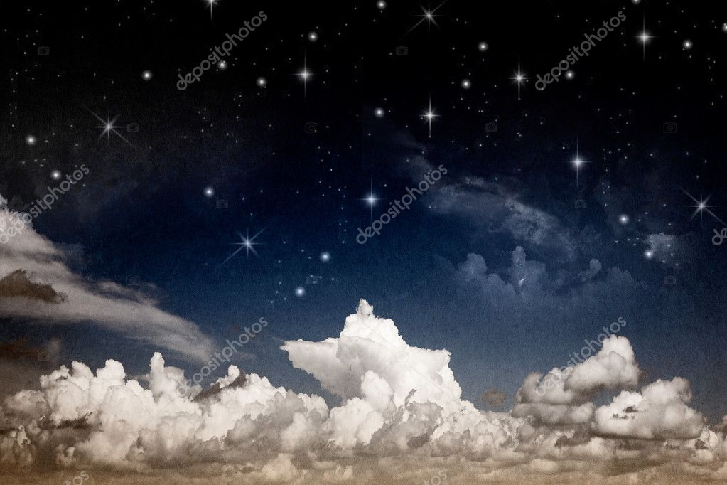 Abstract fantasy night sky with clouds and shining stars textured watercolor paper