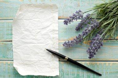 Flowers on vintage wood with blank