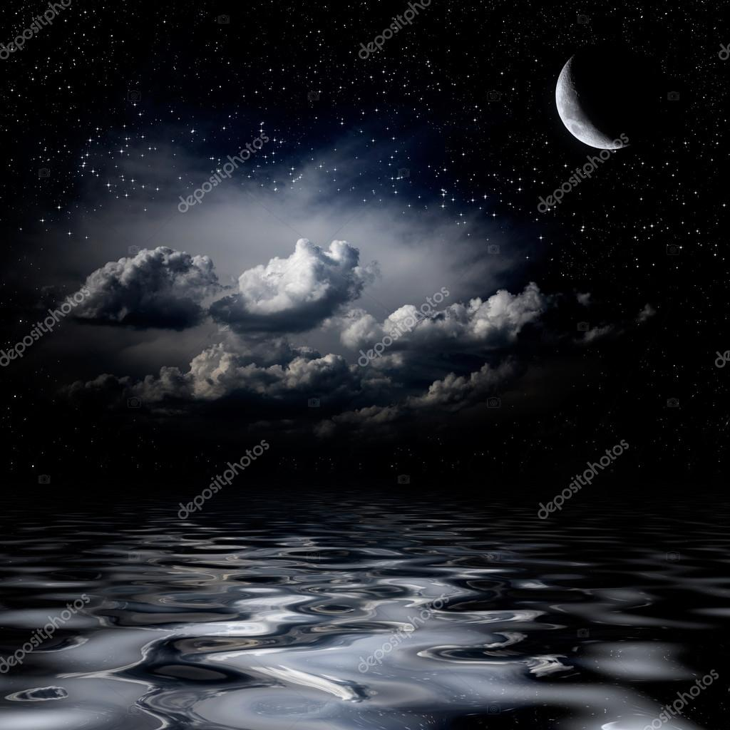 Night sky stars reflecting in sea