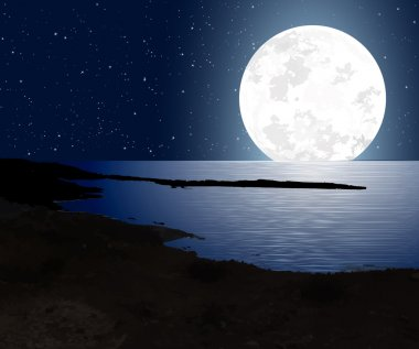 Moonlight With Full Moon And The Coast