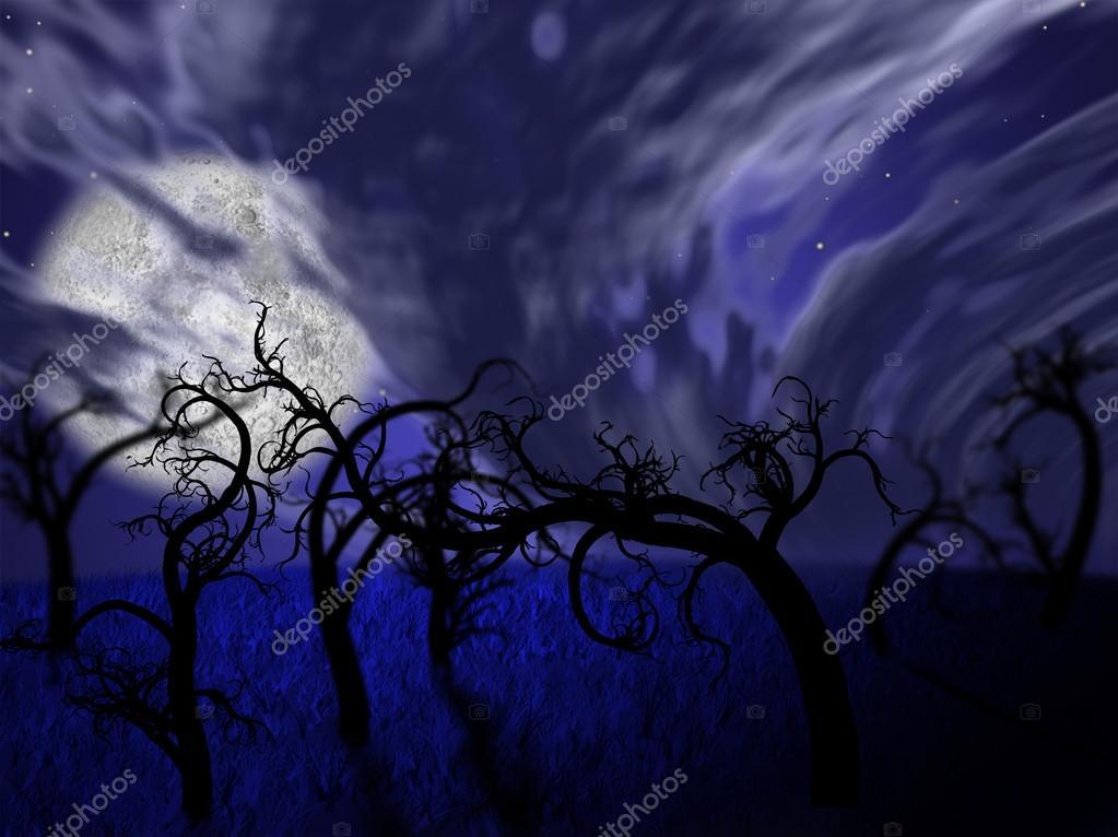 Фотообои Иллюстрация ночной лес с полной луной