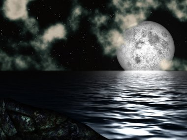 Night Sky Moon over the Sea