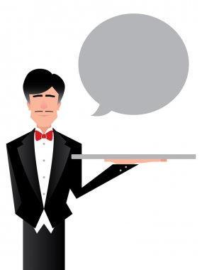 Waiter or Butler Cartoon