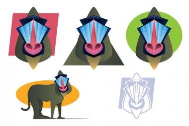 Mandrill Baboon Mascot Set