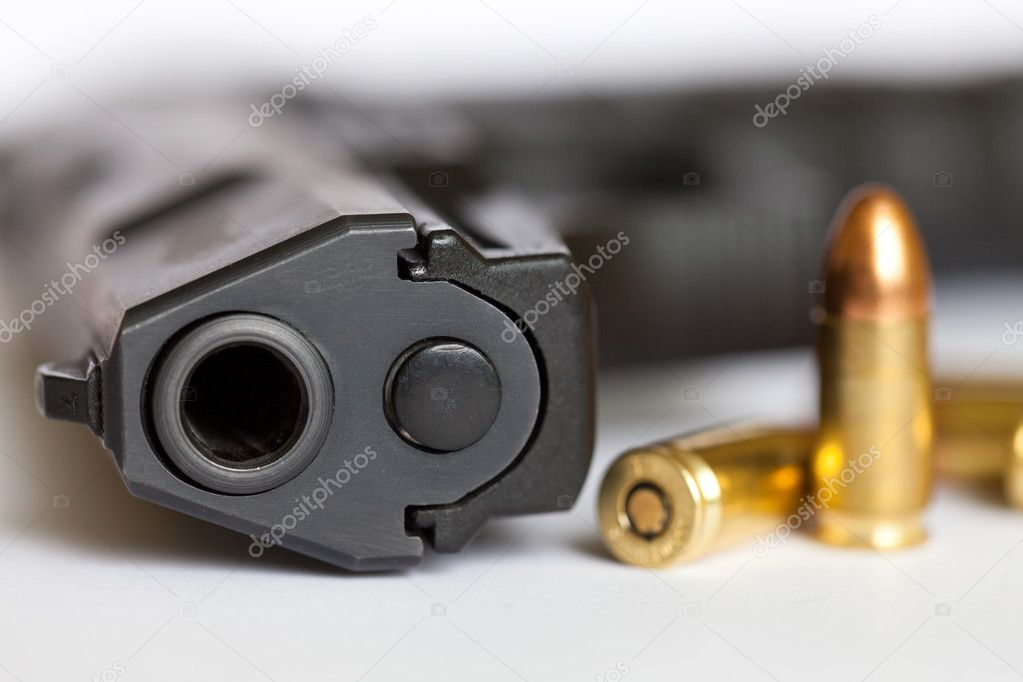 9mm pistol and cartridges stock vector