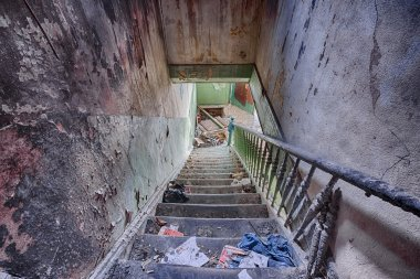 Staircase in an abandoned house