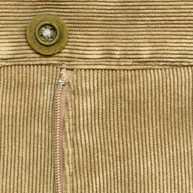 zipper in brown corduroys