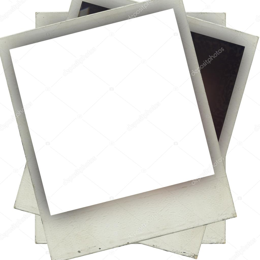 designed grungy instant film frame isolated on white stack of old photos with clipping path for the inside photo by natalt