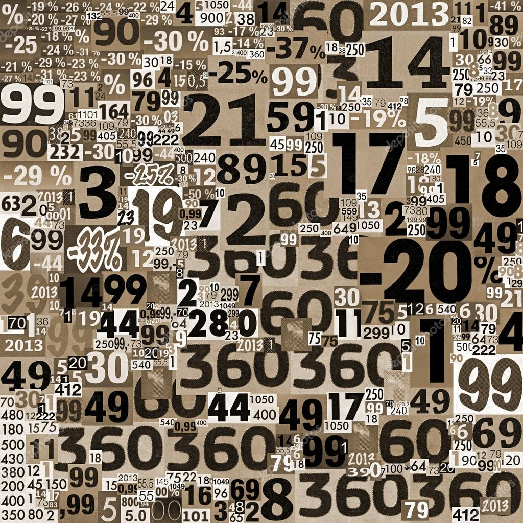 collage of numbers made of newspaper clippings. — stock photo