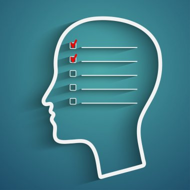 A creative concept of human memory with head and checkbox stock vector