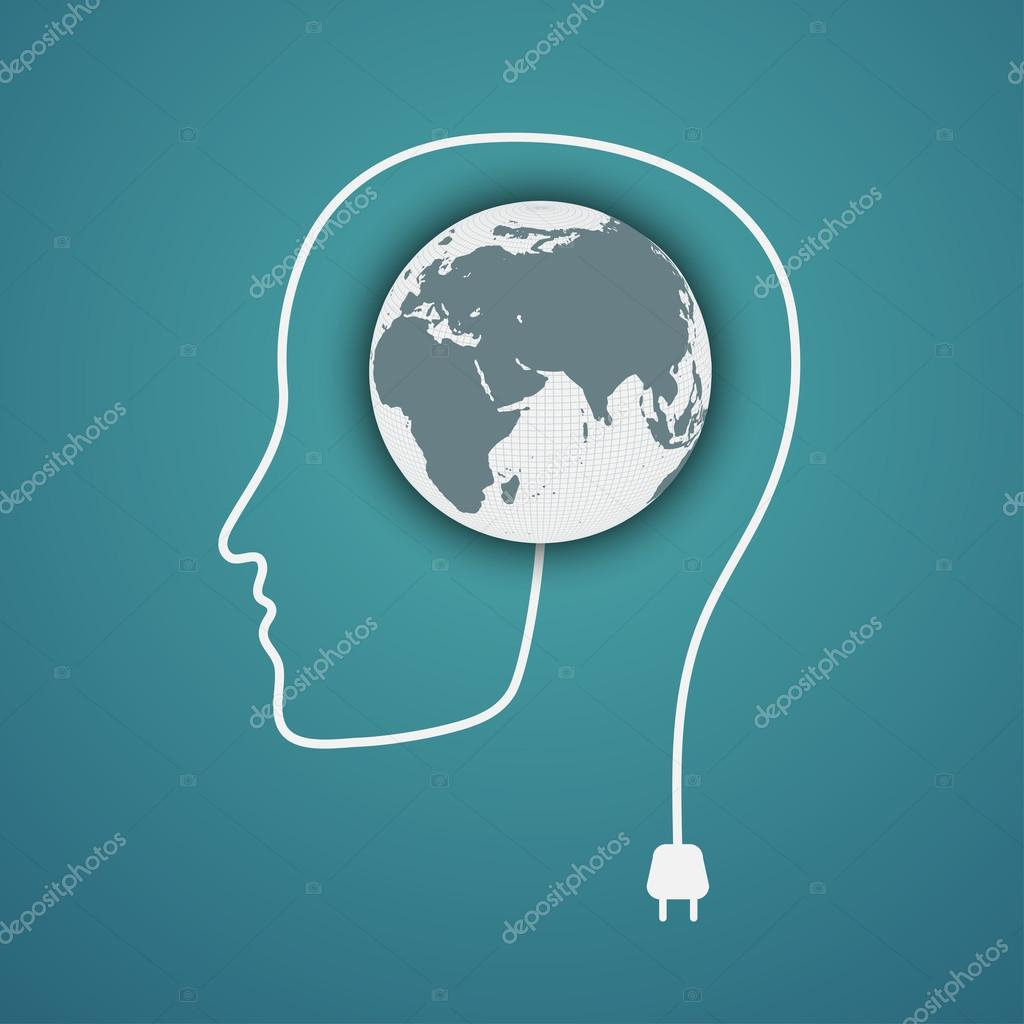 Head concept. Plug the green earth
