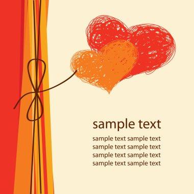 Abstract background, card, bow, heart clip art vector