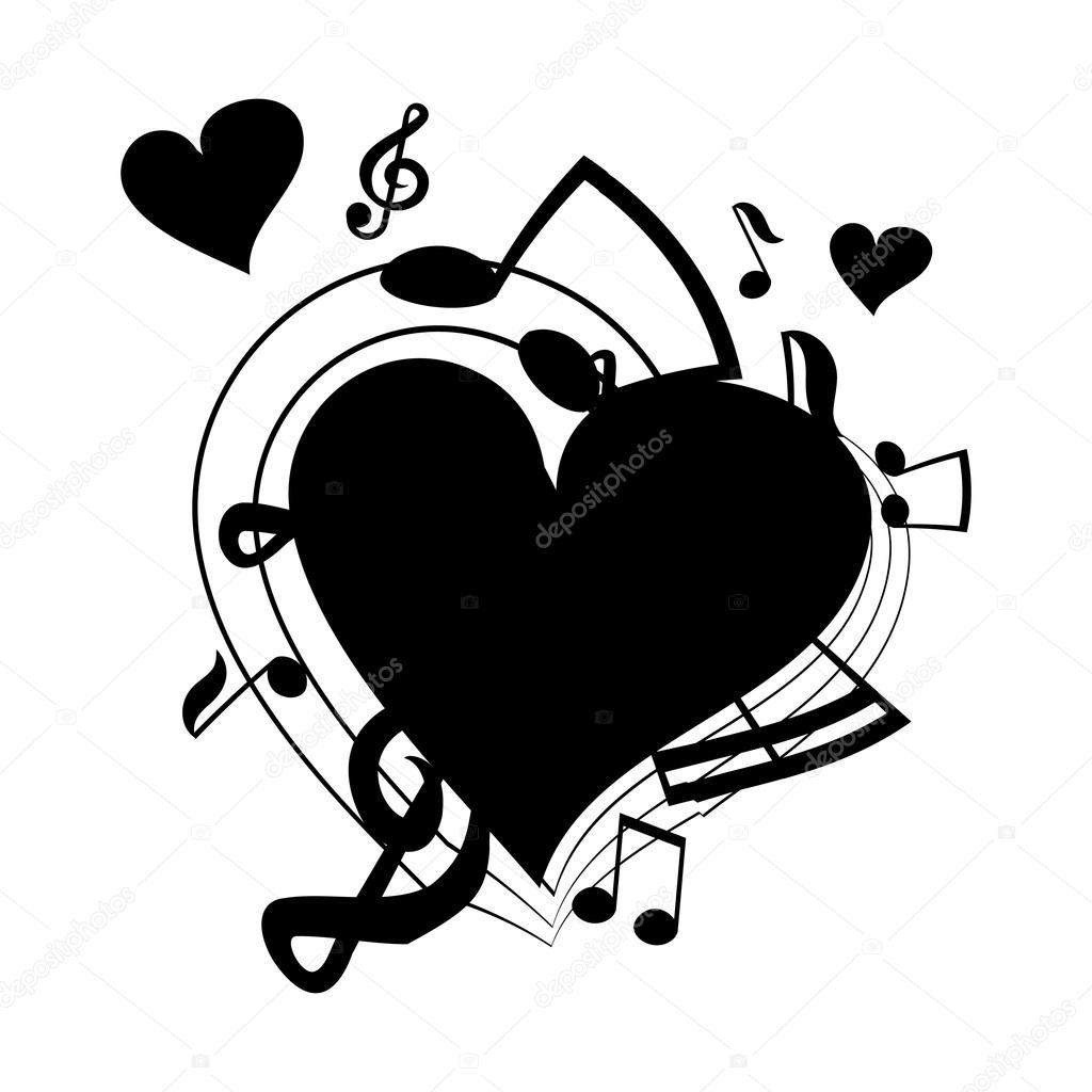 Imágenes Notas Musicales En Forma De Corazon Ilustración