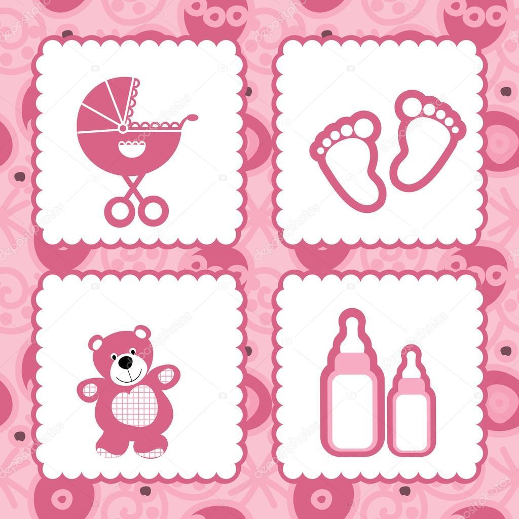 Greeting Card Born Babies Stock Vector Korobovaok 22349827