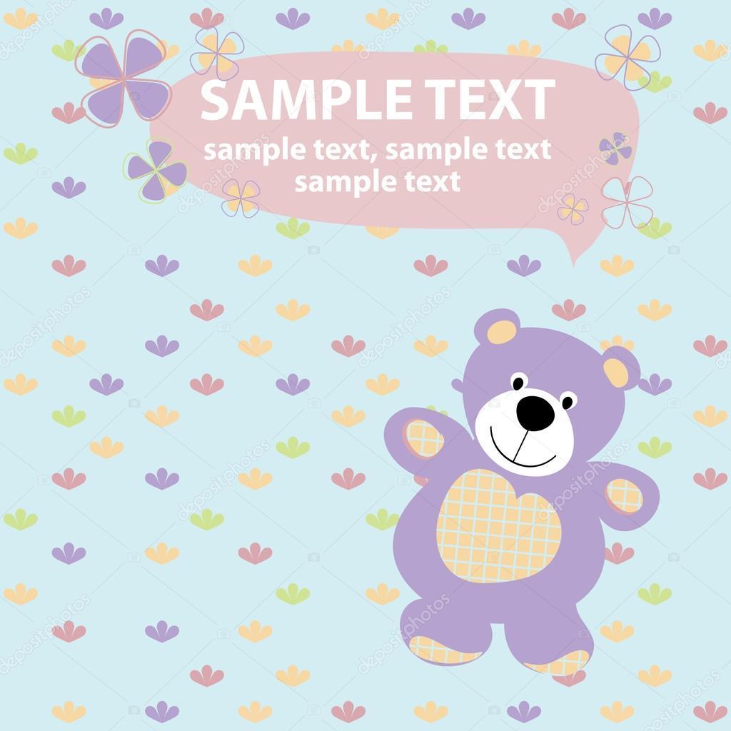 Vector baby card with teddy bear