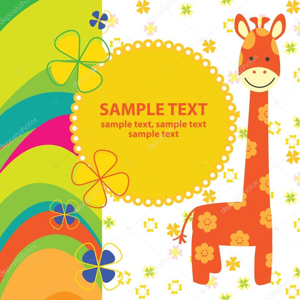 Vector baby card with giraffe