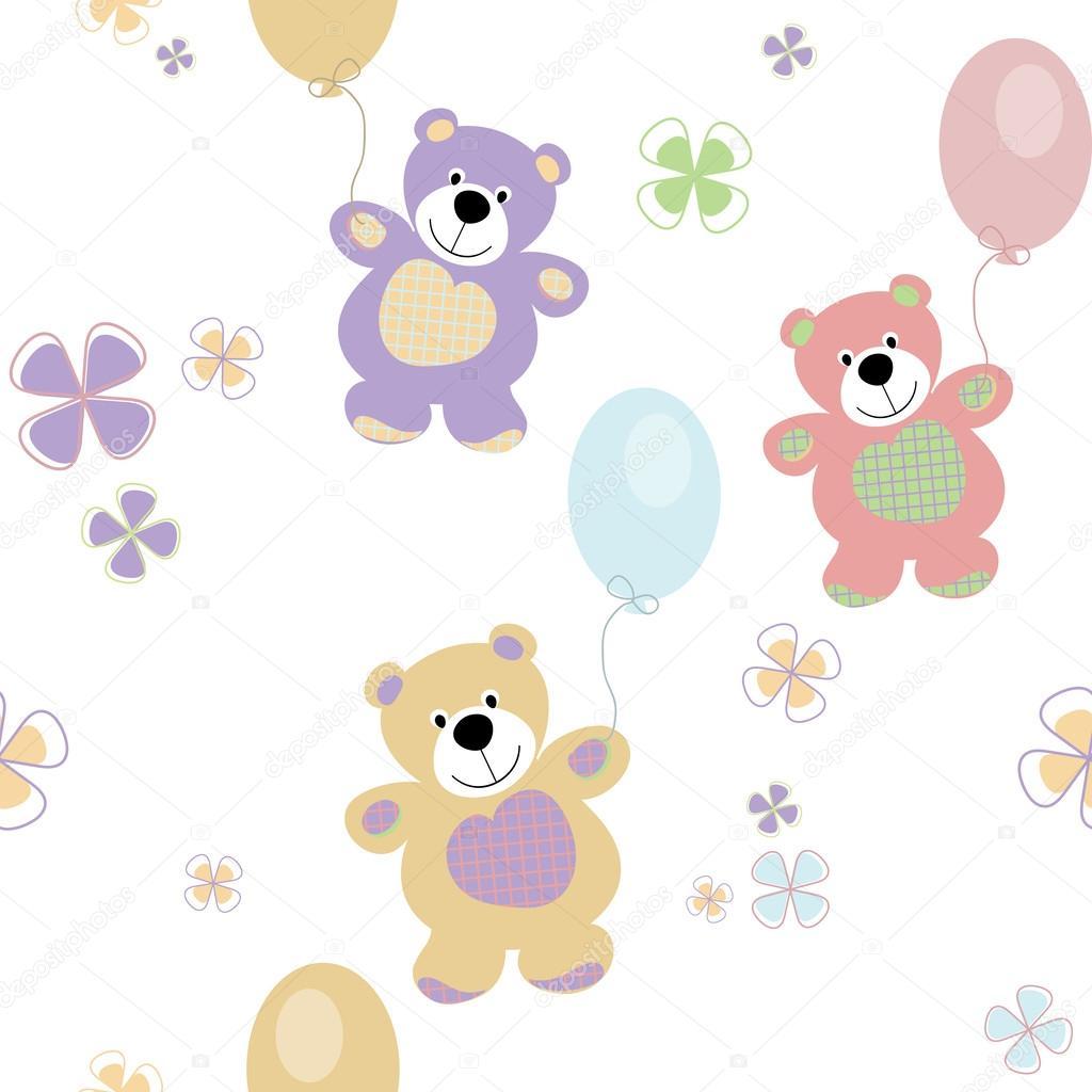 patrón sin costuras Vector con los osos para bebé — Vector de stock ...
