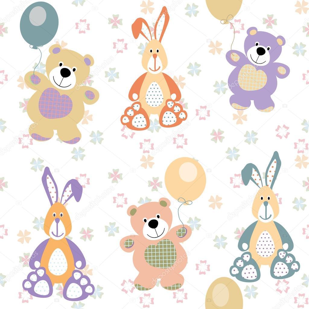 patrón sin costuras Vector con osos y conejos para el bebé — Vector ...