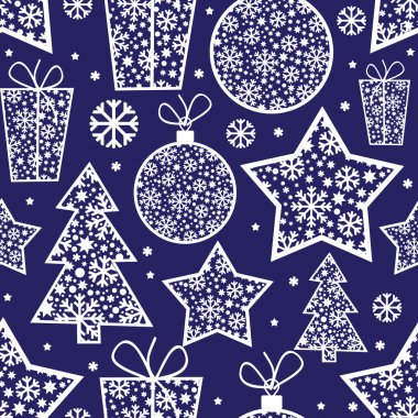 Christmas seamless pattern with decorative elements