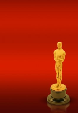 Oscar statue with copy space on red background